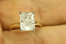ENGAGEMENT SOLITAIRE RING 3.50 CT RADIANT CUT 14 KARAT YELLOW GOLD