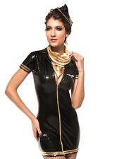 Sexy Women's Gold & Black Pilot Fancy Dress Costume Naughty Role Play Game