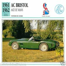 AC BRISTOL ACE LE MANS 1961 1962 CAR VOITURE Great Britain CARTE CARD FICHE
