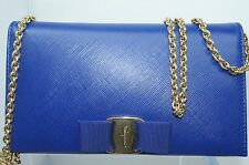Salvatore Ferragamo Womens Blue Bag Vara Bow Chain Wallet Clutch Crossbody NWT