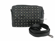 GOTHIC SKULL Soft Faux Leather Ladies Handbag Black Metal Studded Skulls Emo Bag