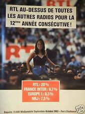 PUBLICITÉ 1993 RTL AU DESSUS DE TOUTES LES AUTRES RADIOS - ADVERTISING
