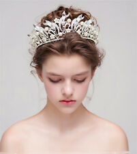 Wedding Bridal Crystal Pearl Queen Crown Tiara Headband Headpiece Jewelry Silver