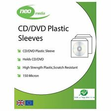 10 NEO CD DVD Plastic Sleeves with Flap (Stitched Edge) 150 Micron Clear NEW HQ