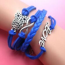 NEW Hot Infinity Love Anchor Leather Cute Charm Bracelet plated blue DIY SL58