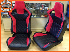 Pair Direct Fit BB6 Reclining Bucket Seats Red Diamond Stitch DEFENDER 90 / 110