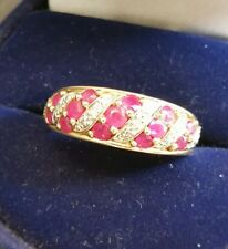 Fine Vintage Art-Deco Style 9CT W/Y Gold Diamond & Ruby Cluster Ring Size S