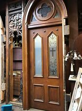 Vintage Church Entry Door With Stained Glass Transom Architectural salvage Style