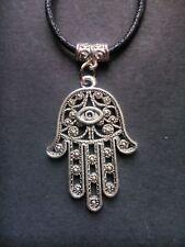 Black waxed cord Silver Hamsa Hand Lucky Evil Eye *karma* necklace / choker
