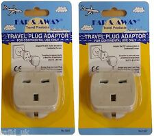 2x Far & Away Double Earthed Continental EU European Travel Adaptor Plug