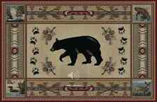 4X5 Lodge Cabin Bear Paw Fish Deer Duck Black Beige Red Rustic Cubs Area Rug