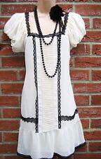 SIZE 10 VINTAGE 20'S DECO GATSBY STYLE CHARLESTON FLAPPER DRESS # US 6 EU 38