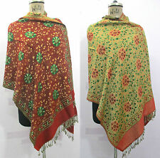 Reversible Indian 100% Wool Winter Woolen Wrap Shawl Scarf Poncho Pashmina w4