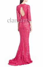 $4995 Dolce & Gabbana Scalloped Rose Pink Lace OpenBack Train Gown 44 Cordonetto