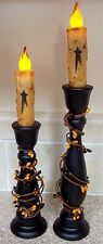 """PRIMITIVE~BATTERY 4.5"""" TIMER TAPER GRUNGY STAR CANDLESTICK CANDLES HOLDERS BERRY"""