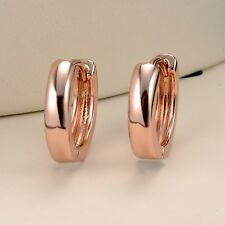 Women's 18k Rose Gold Filled Smooth Earrings GF Charms Hoop Fashion Jewelry Gift