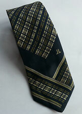 Vintage 80s Silk Tie: Olive/ Stone/ Navy Check with Border Stripe. Unusual Blend