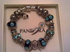 Authentic Pandora Sterling Silver & Black Leather Bracelet with (Murano Beads)