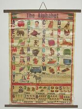 "Vintage Alphabet Chart~English & another lang~ Cheesecloth-backed paper~ 22""x29"""