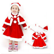 3pcs Cute Warm Xmas Chrismas Dress Cappa Hat Costume Gift For Kids Baby Girl New