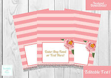 8 x Pink, Floral, Baby Shower,Wedding, Food Labels, Name, Tent Cards.