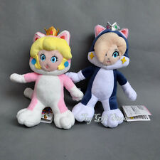 2 pcs Super Mario 3D World Plush Doll Figure CAT Princess Peach & Rosalina 8-9""
