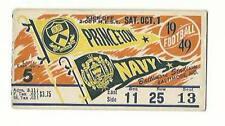 1949 Football Game Ticket PRINCETON Vs Navy Baltimore Stadium Color Litho