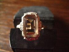 fein verzierter Art Deco Ring Rauchtopas Topas 835er Silber signiert RG 57 18 mm