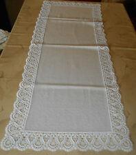 Deckchen Läufer Tischläufer beige mit Spitze 117 x 46 cm