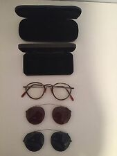 Vintage Oliver Peoples MP-2 404 AG Eyeglass Frame with 2 Clip-On Sunglasses RARE