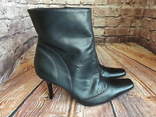 Ladies Black Leather Zip Fastening High Stiletto Heel Ankle Boots UK 8 EU 42