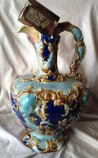 French Antique Art Nouveau Large Majolica Vase Ewer Pitcher Extra Large AMAZING