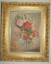 bouquet of roses flowers in vase oil painting ornate frame signed ruby moss