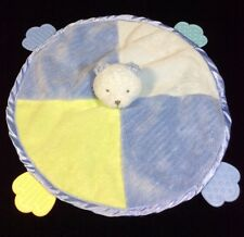 Carters Bear Blue Yellow Green Round Security Baby Blanket Teether Lovey