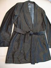 VTG RABHOR ROBE BELTED SMOKING JACKET L/XL BLUE WHITE BLACK HANDSOME UNWORN EUC