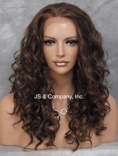 HEAT SAFE Wavy Curly Lace Front Wig Long Brown Blonde Auburn mix IS 4.27.30