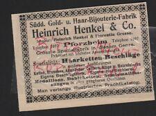 PFORZHEIM, Werbung 1912, Heinrich Henkel & Co. Süddt Gold-Haar-Bijouterie-Fabrik