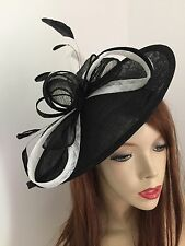 Fascinator Black White Wedding Saucer Hat Formal Ladies Hatinator Oval Disc Race