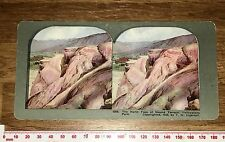NORTH FACE OF MOUNT TERRACE YELLOWSTONE PK Vintage INGERSOLL Colour Stereoview