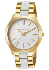 Michael Kors Women's Slim Runway Gold Tone/White Acetate Watch MK4295