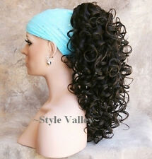Dark Brown Ponytail Hairpiece Long Curly Claw CLIP in on Hair Piece Extension