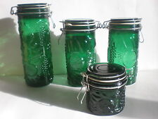 Vintage Green Glass Canister Embossed Fruit Gasketed Locking Lids 4 piece LOT