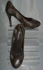 WOMENS JENNIKA BROWN SYNTHETIC ANIMAL PRINT SLIM HIGH HEEL COURT SHOES Size:5/38