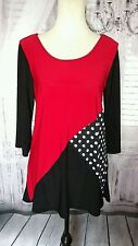 STAR VIXEN 3/4 Sleeve Red White Black Career Knit Tunic Top XL