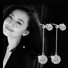 Womens 925 Sterling Silver Swarovski Crystal Ball Ear Stud Long Dangle Earrings