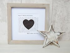 3rd Wedding Anniversary Leather Heart Gift Frame Personalised Large Shabby Chic