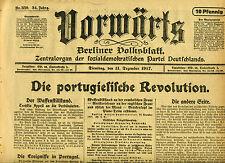 Original Zeitung VORWÄRTS 11.12.1917 Die portugiesische Revolution