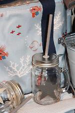 * Set aus 2 Trinkbecher mit Strohhalm und Deckel Glas Metall Grau Stern Smoothie