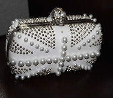 ALEXANDER MCQUEEN WHITE STUDS AND PEARLS EMBELISHED BRITANNIA SKULL BOX CLUTCH