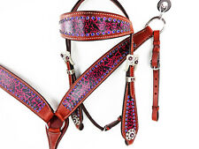 PURPLE WESTERN HORSE LEATHER BLING HEADSTALL BRIDLE BREASTCOLLAR TACK SET